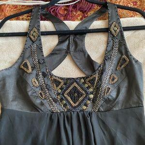 LIPSY BLACK BEADED &SEQUINNED OPEN BACK SILK DRESS